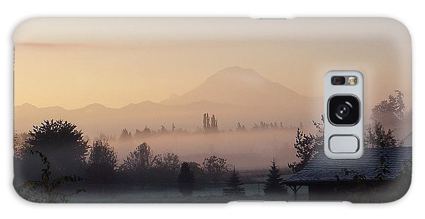Misty Mt. Rainier Sunrise Galaxy Case
