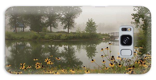 Misty Pond Bridge Reflection #3 Galaxy Case