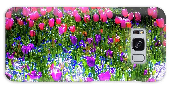 Mixed Flowers And Tulips Galaxy Case