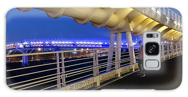 Modern Bicycle Overpass By Night Galaxy Case by Yali Shi