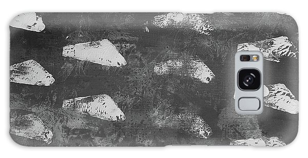 Galaxy Case featuring the painting Modern Fossil Grayscale by Robin Maria Pedrero