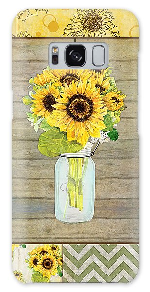 Modern Rustic Country Sunflowers In Mason Jar Galaxy Case