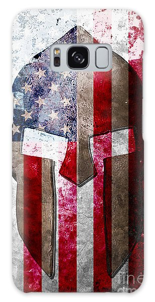 Molon Labe - Spartan Helmet Across An American Flag On Distressed Metal Sheet Galaxy Case