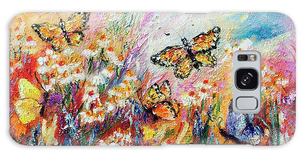 Monarch Butterflies And Chamomile Flowers Galaxy Case