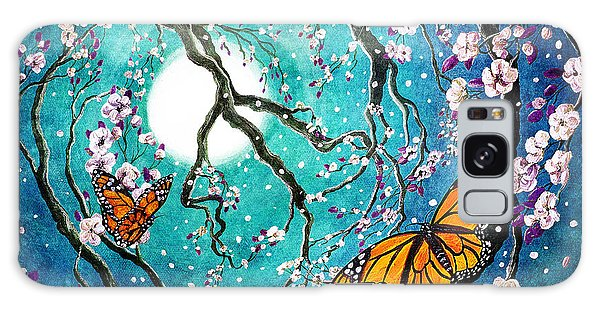 Monarch Butterflies In Teal Moonlight Galaxy Case by Laura Iverson