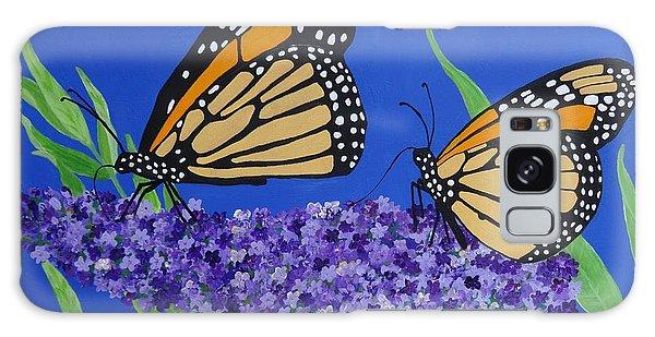Monarch Butterflies On Buddleia Flower Galaxy Case