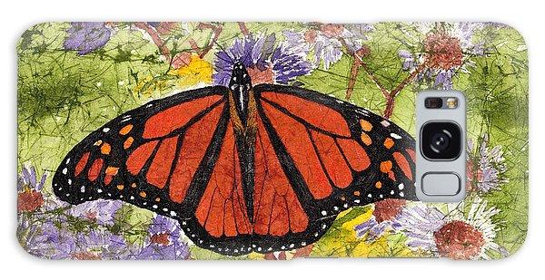 Monarch Butterfly On Purple Flowers Watercolor Batik Galaxy Case