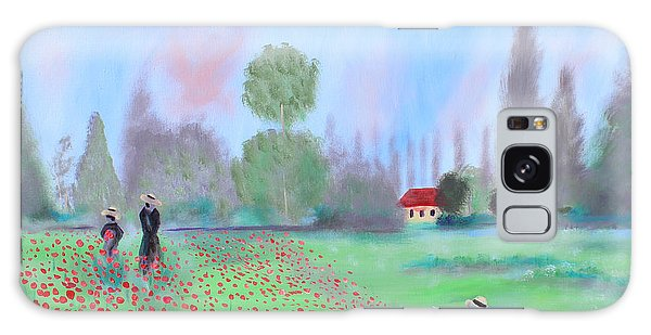 Monet's Field Of Poppies Galaxy Case