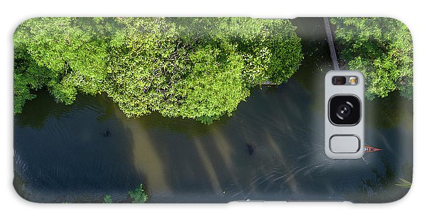 Galaxy Case featuring the photograph Monk Rowing Boat Along Floating Market Aerial View by Pradeep Raja PRINTS