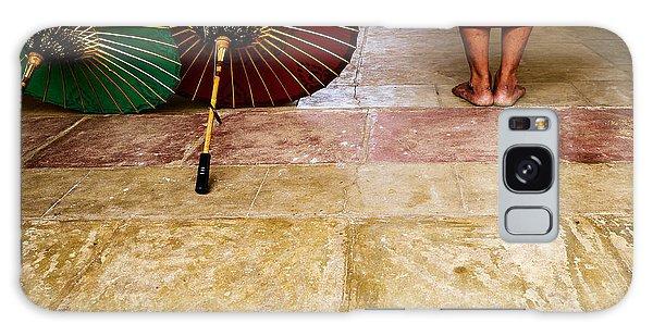 Monk With Umbrellas Galaxy Case by Dean Harte