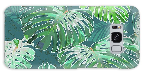 Monstera Jungle Teal Galaxy Case