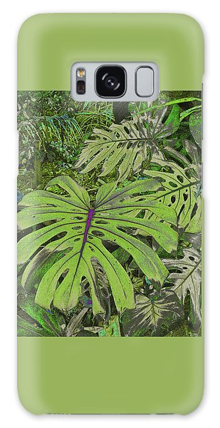 Monstera Leaves - Soft Greens Galaxy Case