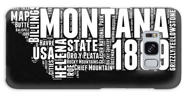 Montana Galaxy Case - Montana Black And White Map by Naxart Studio