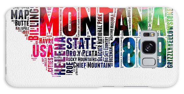 America Map Galaxy Case - Montana Watercolor Word Cloud  by Naxart Studio