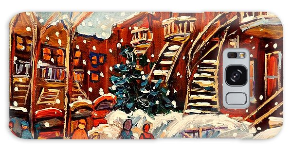 Montreal Street In Winter Galaxy Case by Carole Spandau