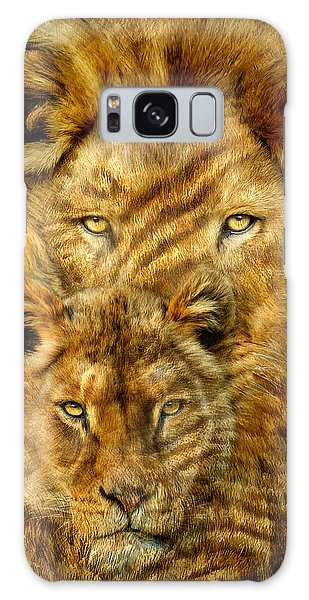 Galaxy Case featuring the mixed media Moods Of Africa - Lions 2 by Carol Cavalaris