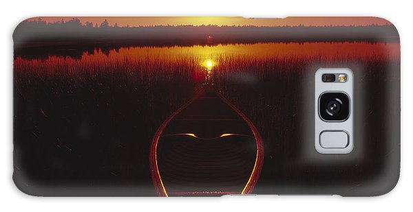Moody Sunrise Lake Scene With Cedar Canoe Galaxy Case