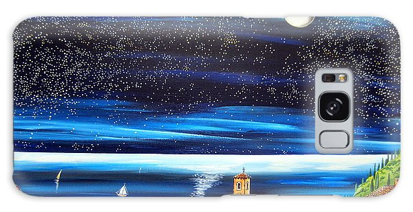 Moon And Stars Over The Village  Galaxy Case by Roberto Gagliardi
