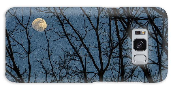 Moon At Dusk Through Trees - Impressionism Galaxy Case