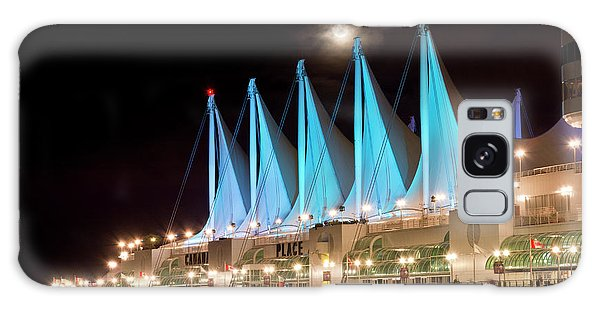Moon Over Canada Place In Vancouver Galaxy Case