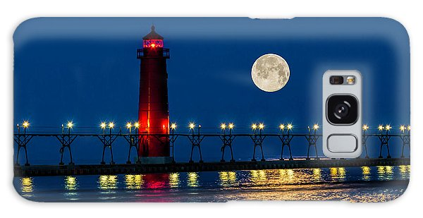 Moon Over Grand Haven Galaxy Case