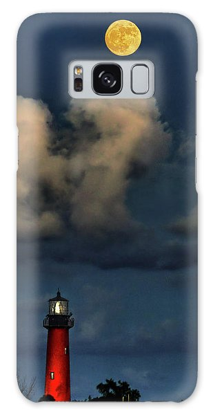 Moon Over Lighthouse Galaxy Case