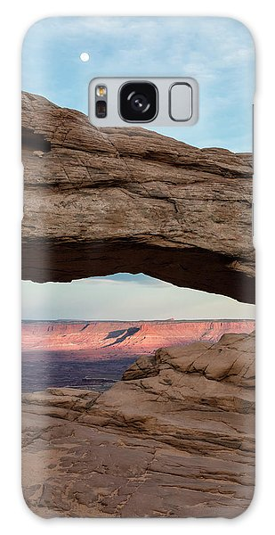 Moon Over Mesa Arch Galaxy Case
