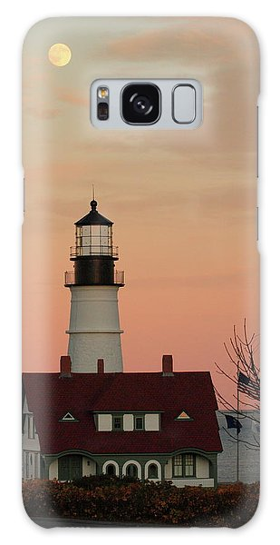 Moon Over Portland Head Lighthouse Galaxy Case