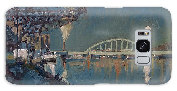 Galaxy Case - Moon Over The Railway Bridge Maastricht by Nop Briex