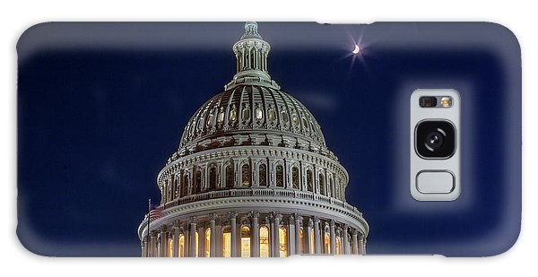 Moon Over The Washington Capitol Building Galaxy Case