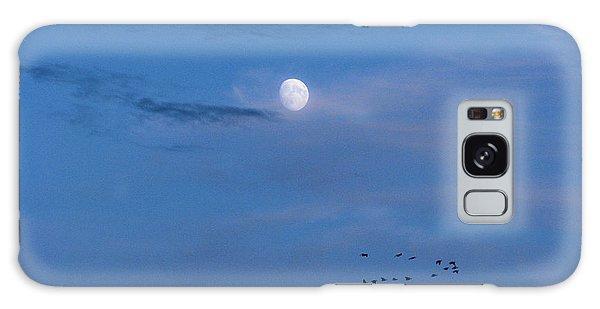 Moon Rises Geese Fly Galaxy Case