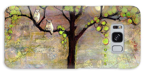 Dawn Galaxy Case - Moon River Tree Owls Art by Blenda Studio