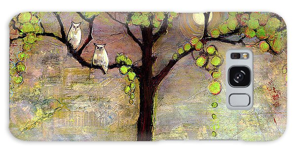 Moon River Tree Owls Art Galaxy Case
