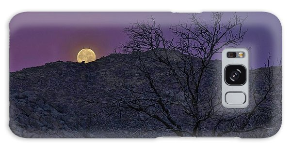 Moon Set At Sunrise Galaxy Case