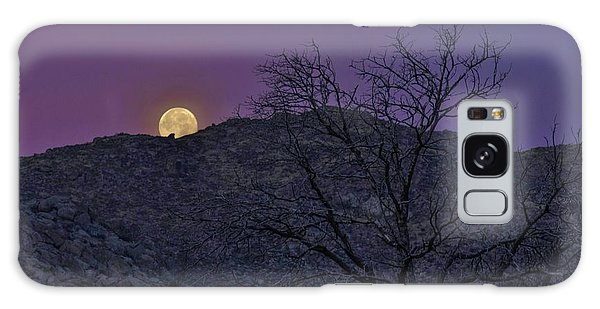 Moon Set At Sunrise Galaxy Case