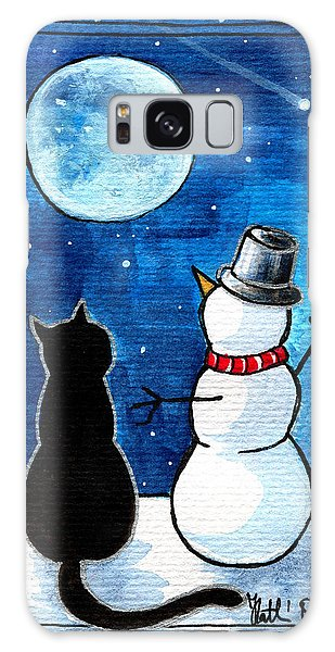 Moon Watching With Snowman - Christmas Cat Galaxy Case