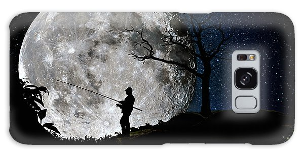 Moonlight Fishing Under The Supermoon At Night Galaxy Case by Justin Kelefas