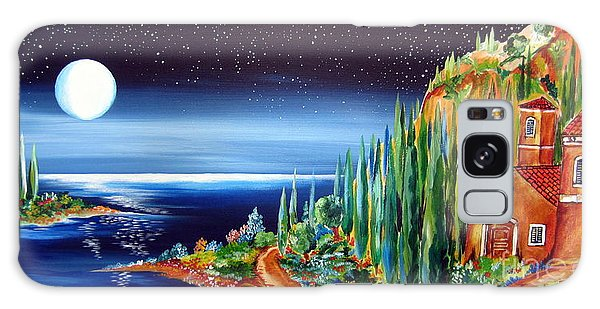 Moonlight Over My Tuscan Villa Galaxy Case by Roberto Gagliardi