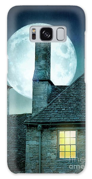Moonlit Rooftops And Window Light  Galaxy Case by Lee Avison