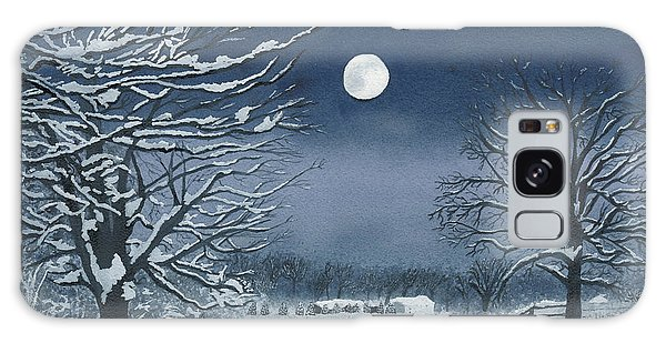 Moonlit Snowy Scene On The Farm Galaxy Case