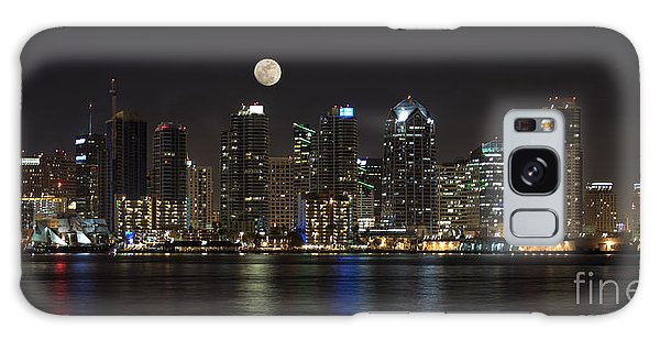 Moonrise Over San Diego Galaxy Case by Sandra Bronstein