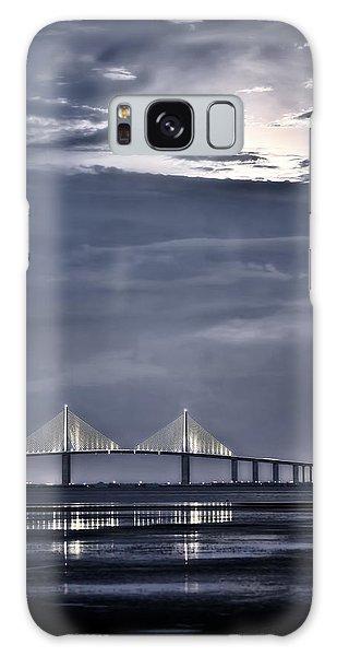 Moonrise Over Sunshine Skyway Bridge Galaxy Case by Steven Sparks