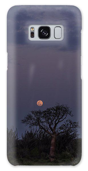 Galaxy Case featuring the photograph Moonrise With Baobab And Octopus Trees by Alex Lapidus