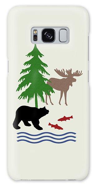 Fall Galaxy Case - Moose And Bear Pattern Art by Christina Rollo