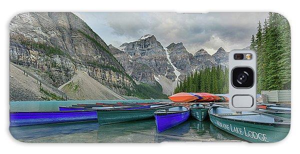 Moraine Lake Galaxy Case - Moraine Lake Canoe Water Line View by Paul Quinn