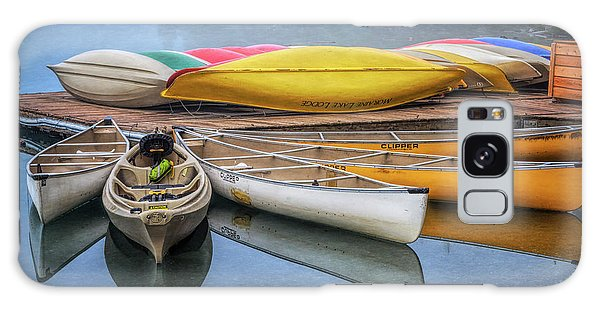 Moraine Lake Galaxy Case - Moraine Lake Canoes by Joan Carroll