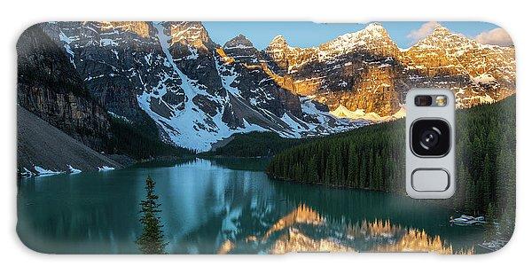 Moraine Lake Galaxy Case - Moraine Lake Golden Alpenglow Reflection by Mike Reid