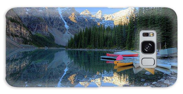 Moraine Lake Sunrise Blue Skies Canoes Galaxy Case