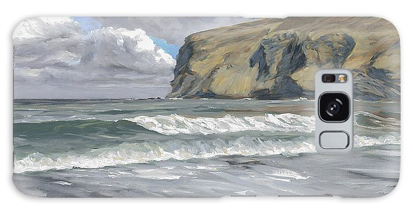 Galaxy Case featuring the painting Morning Light On Pencannow Point by Lawrence Dyer