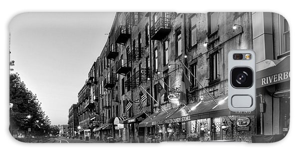 Morning On River Street In Black And White Galaxy Case